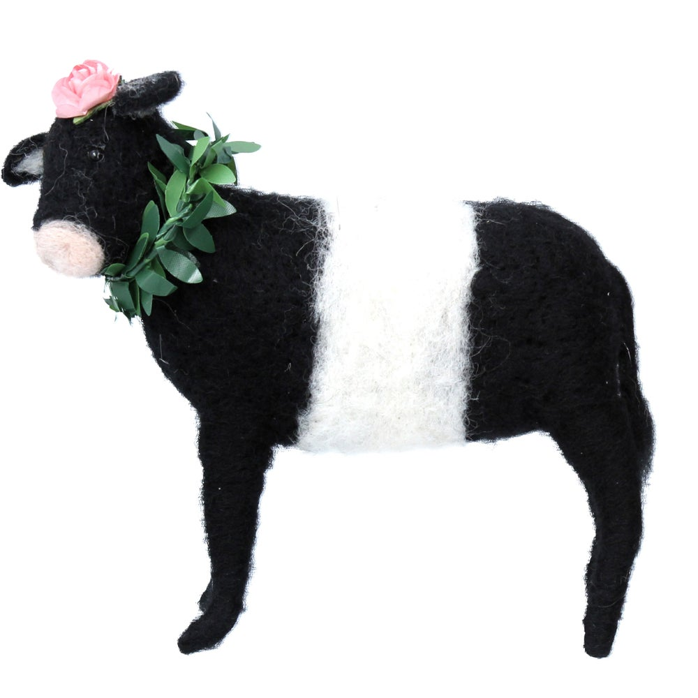 Image of Gisela Graham Black & White Wool Mix Cow