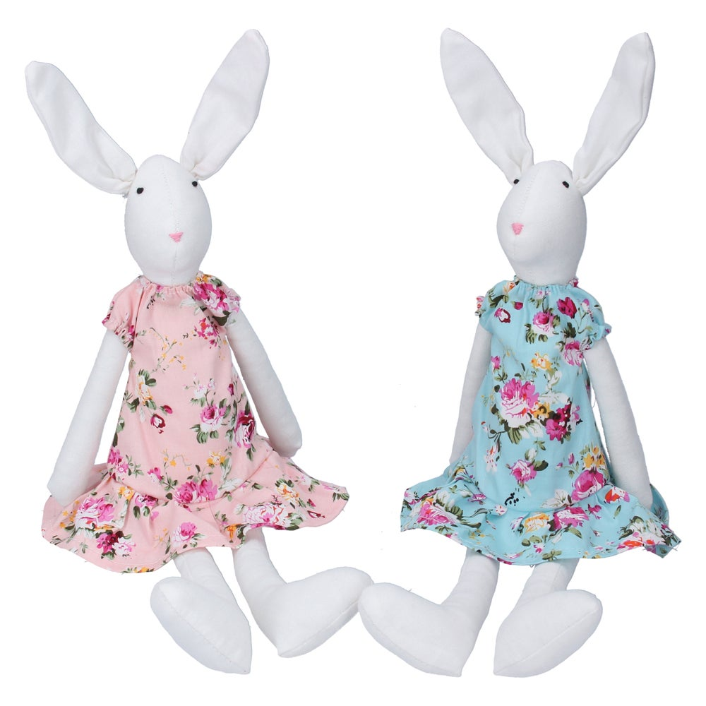 Image of Gisela Graham Fabric Bunny Shelf Sitter in Floral Dress