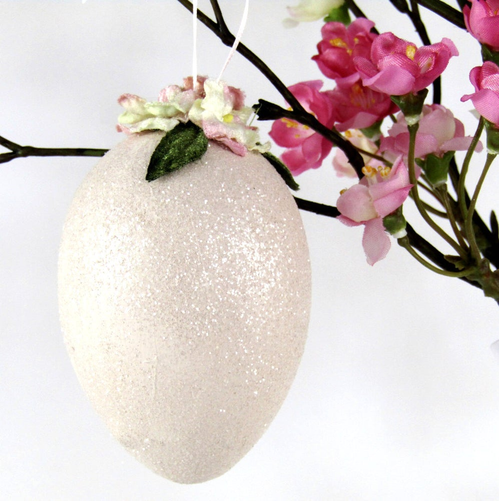 Image of Blush Pink Velvet flower glitter egg