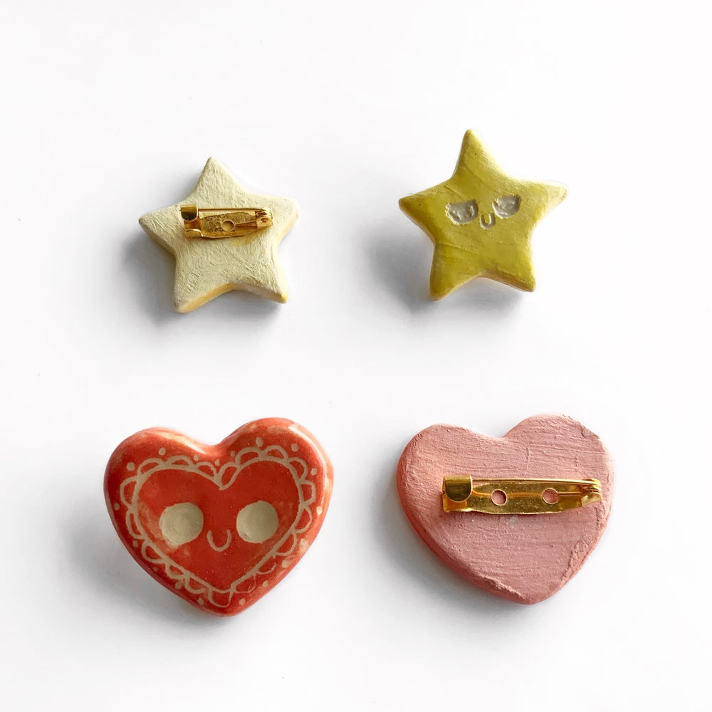 Handmade Clay Pins - Glazed