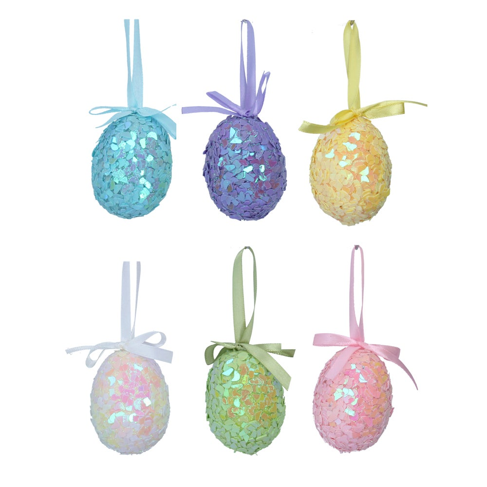 Image of Gisela Graham Easter Tree Decorations - Sequin Pastel Set