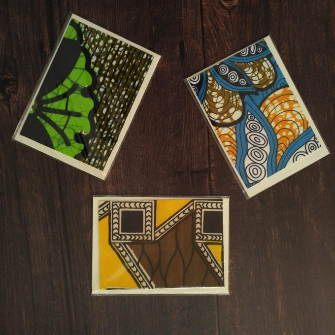 Image of Handmade African print greeting cards, mixed set of 3