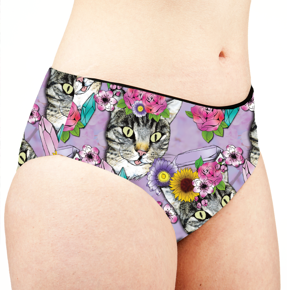 Image of Flower Crown Tabbies Low Rise Cheeky Shorts