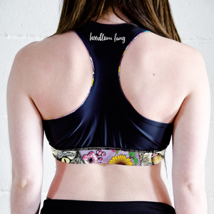 Image of Flower Crown Tabbies Racer Back Sports Crop Top