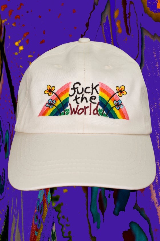 Image of FUCK THE WORLD embroidered cap - CREAM