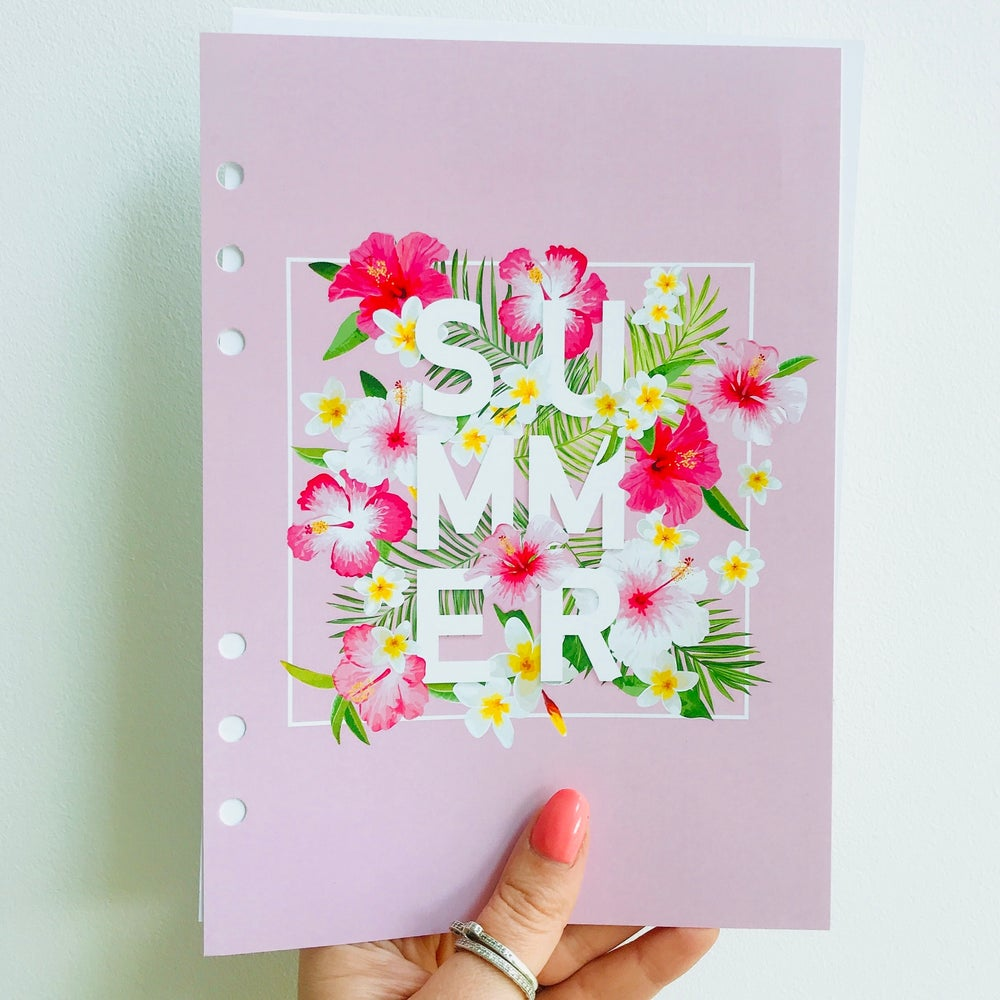Image of A5 FOOD DIARY ORGANISER INSERT REFILL PINK SUMMER