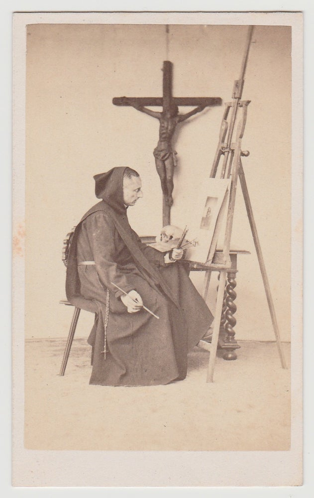 Image of Ch. Carey: painting monk with vanitas and crucifix, ca. 1864