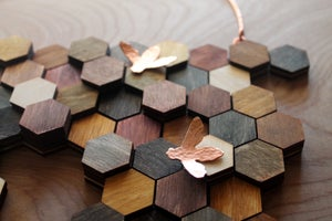 Image of Wood and Copper Honeycomb Wall Hanging (Horizontal)