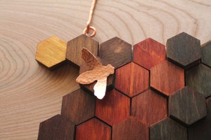 Image of Wood and Copper Honeycomb Wall Hanging (Vertical)
