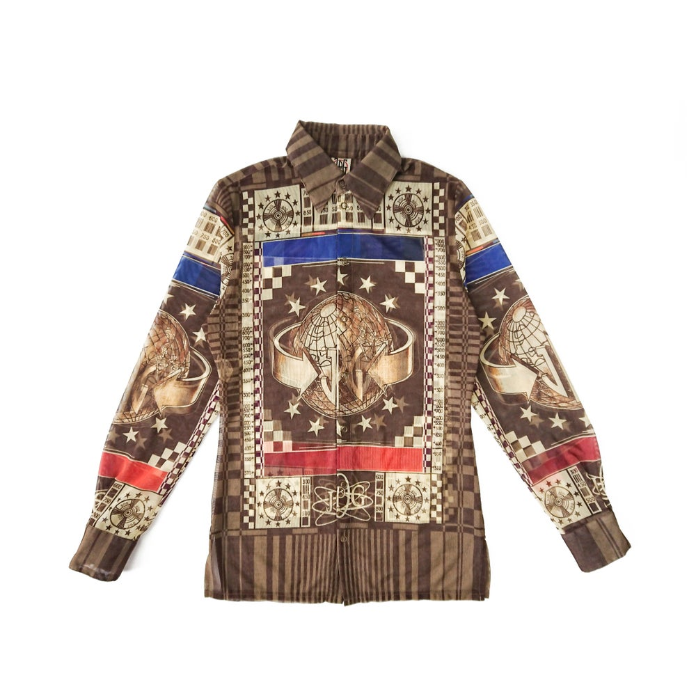 Image of Jean Paul Gaultier Mesh 'World' Print Shirt