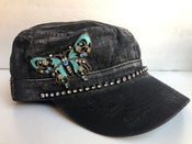 Image of  Cadet Hat Crystal Blue Butterfly