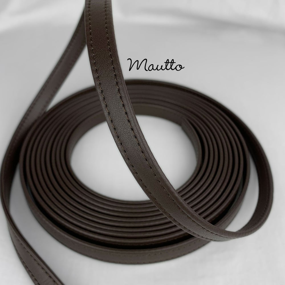 "Image of Finished Dark Brown Leather Strapping - 1/2 inch (0.5"") Wide - for DIY Projects, Repair of Bags, etc"