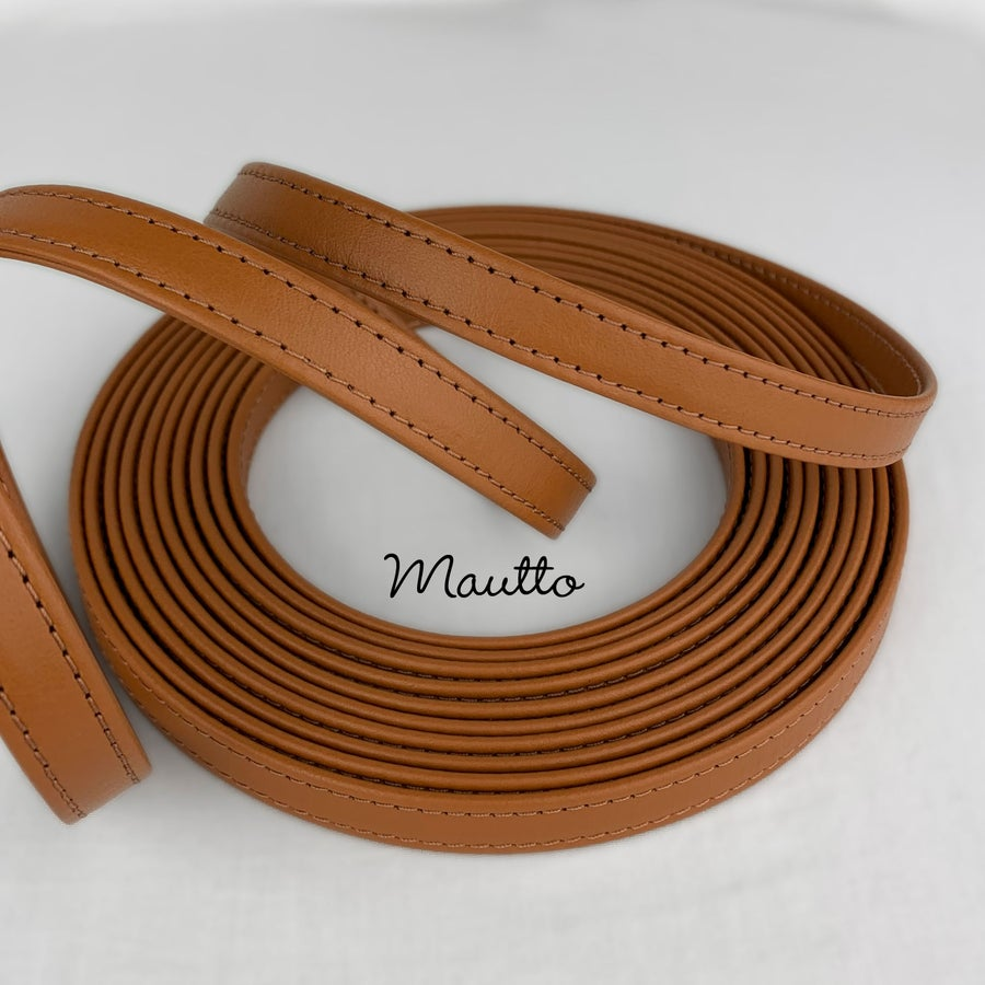 "Image of Finished Dark Tan Leather Strapping - 1/2 inch (0.5"") Wide - for DIY Projects, Repair of Bags, etc"