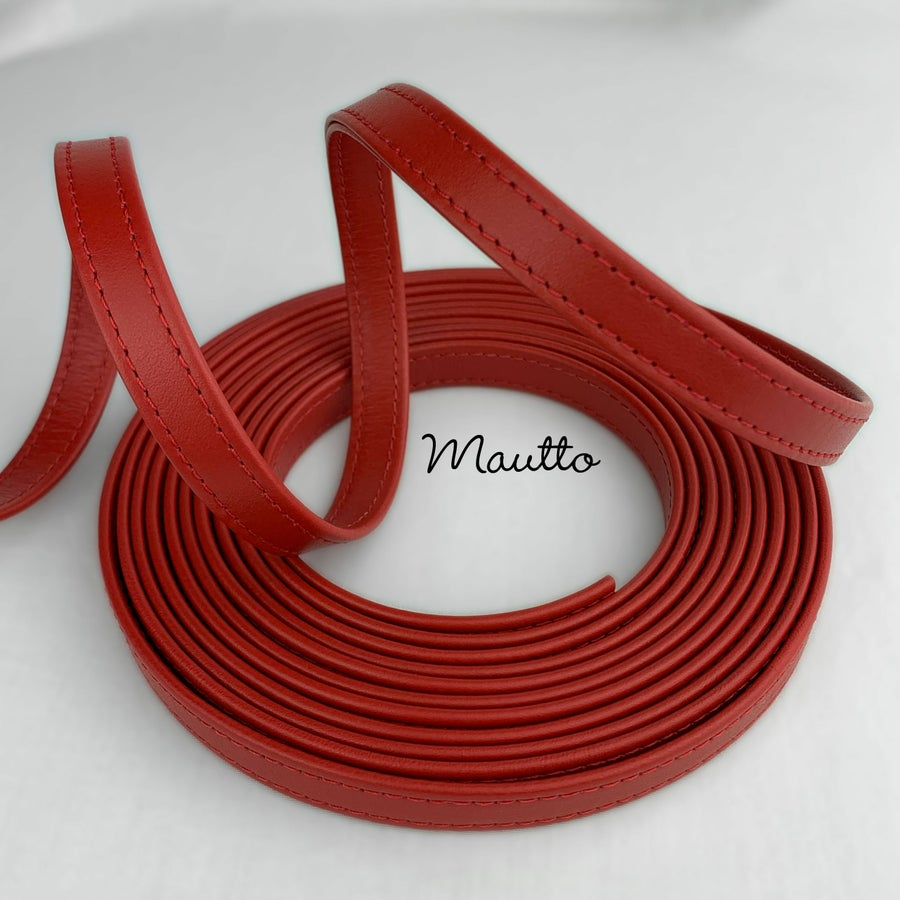 "Image of Finished Red Leather Strapping - 1/2 inch (0.5"") Wide - for DIY Projects, Leathercrafting, Repairs"