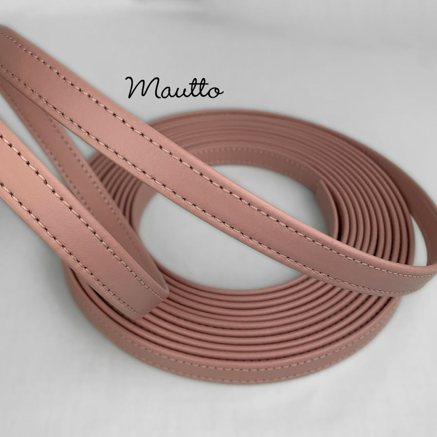 "Image of Finished Pink Leather Strapping - 1/2 inch (0.5"") Wide - for DIY Projects, Leathercrafting, Repairs"