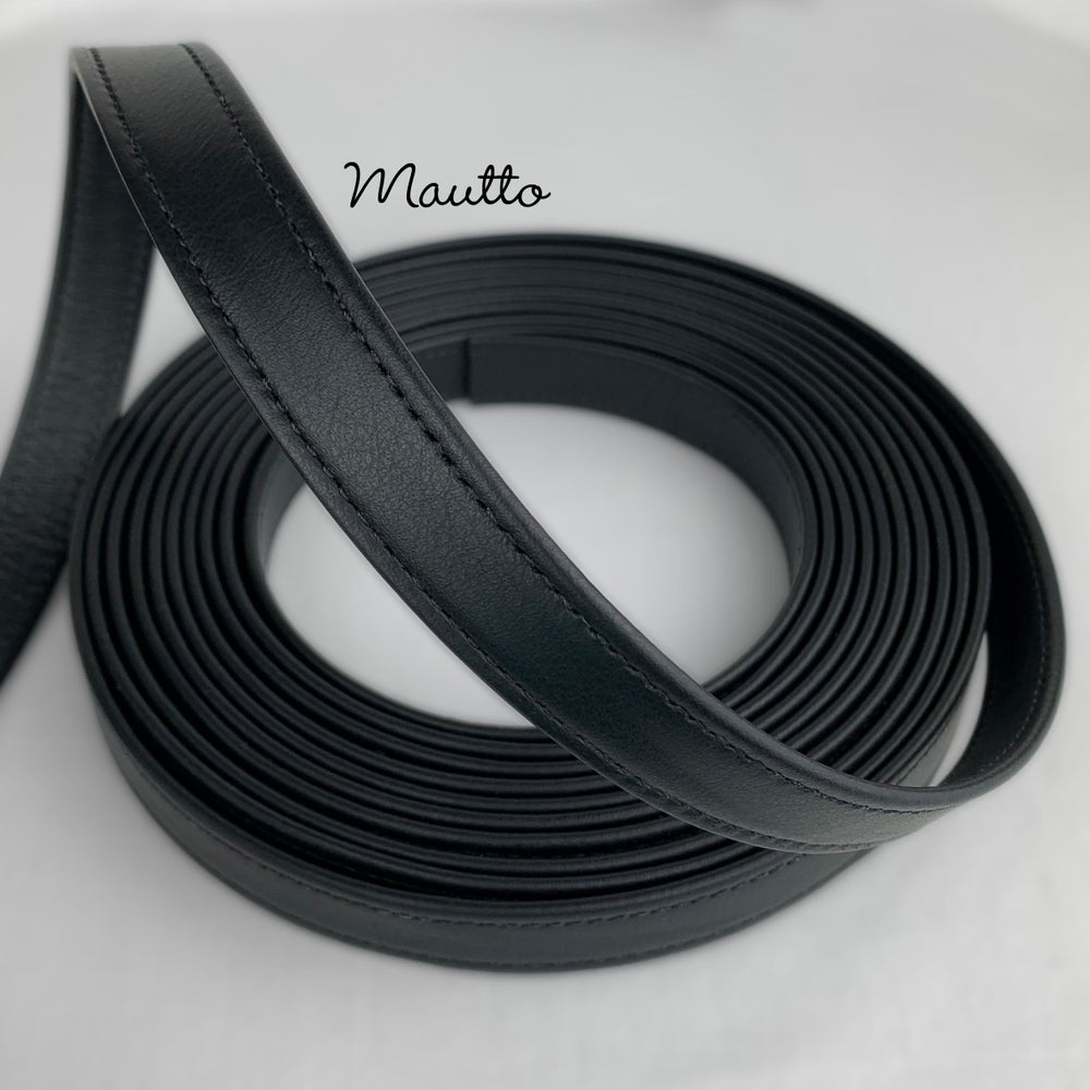 "Image of Finished Black Leather Strapping - 3/4 inch (0.75"") Wide - for DIY Projects, Leathercrafting, Repair"