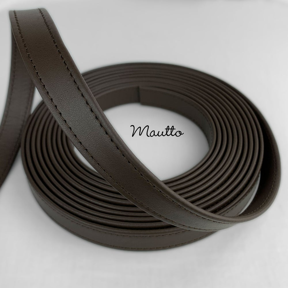 "Image of Finished Dark Brown Leather Strapping - 3/4 inch (0.75"") Wide - for DIY Projects, Repair of Bags etc"
