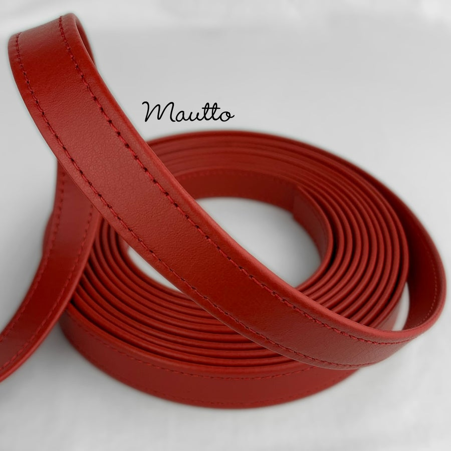"Image of Finished Red Leather Strapping - 3/4 inch (0.75"") Wide - for DIY Projects, Leathercrafting, Repairs"