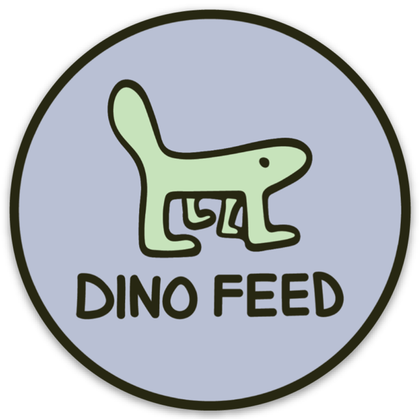 Image of Dino Feed Blue Circle Sticker