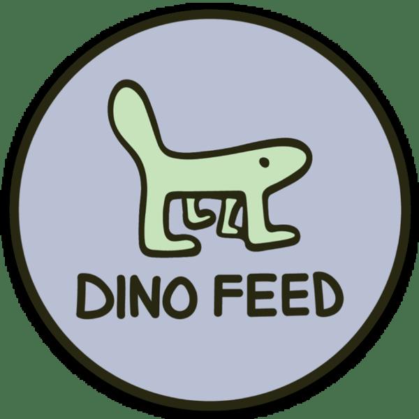Image of Dino Feed Blue Circle Sticker