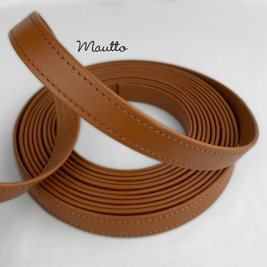 "Image of Finished Dark Tan Leather Strapping - 3/4 inch (0.75"") Wide - for DIY Projects, Repair of Bags, etc"
