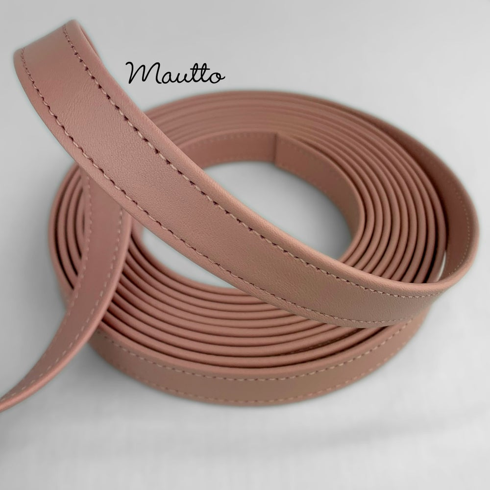 "Image of Finished Pink Leather Strapping - 3/4 inch (0.75"") Wide - for DIY Projects, Leathercrafting, Repairs"