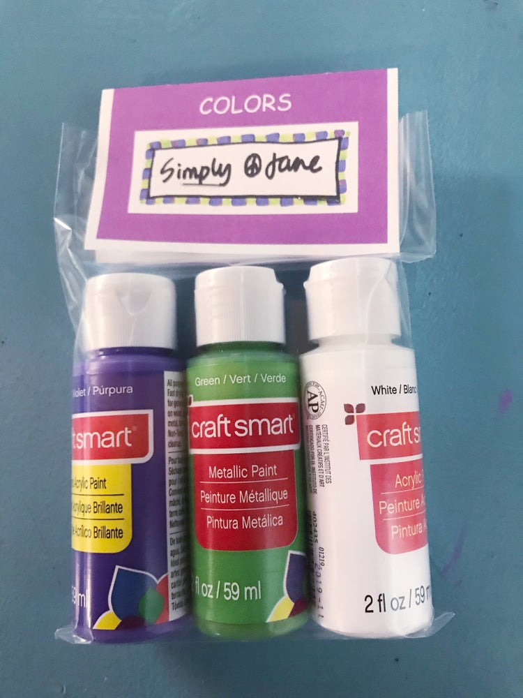 Image of Acrylic Paint Set & Brushes (Purple, Green, White)