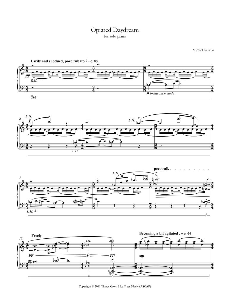 Image of Opiated Daydream, for solo piano