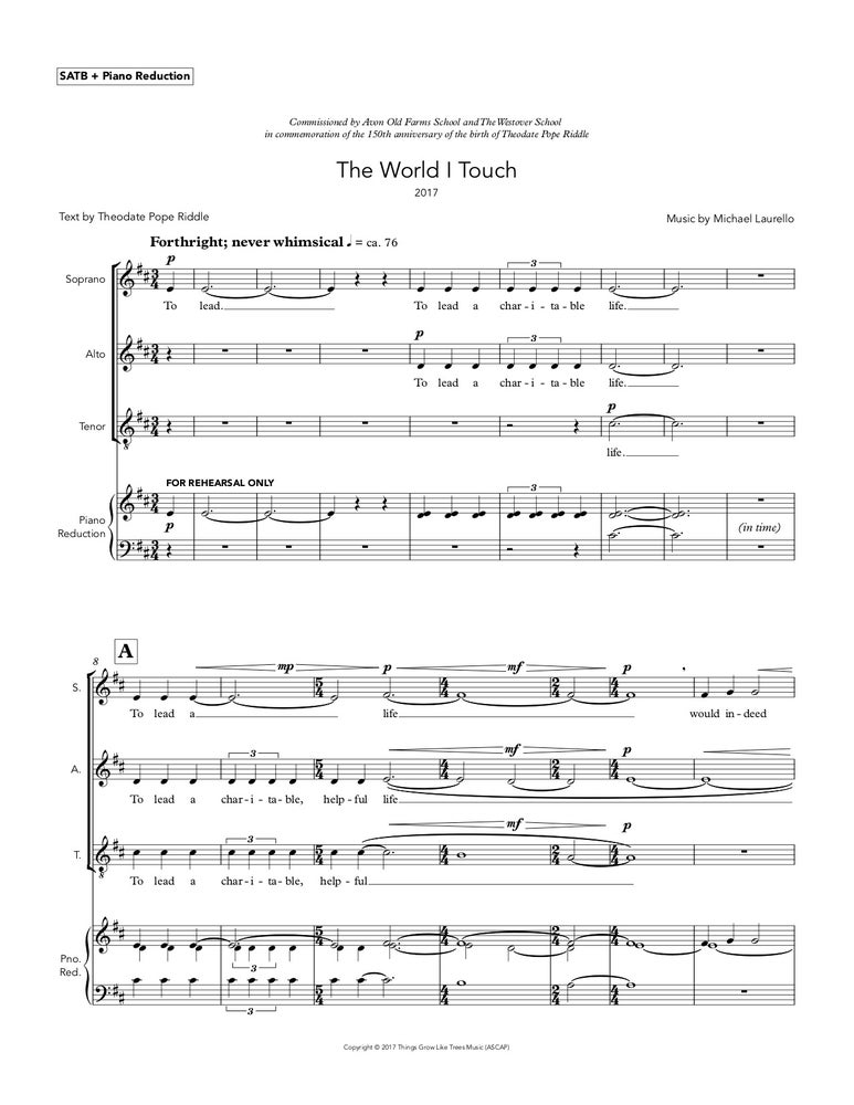 Image of The World I Touch, for SATB Choir