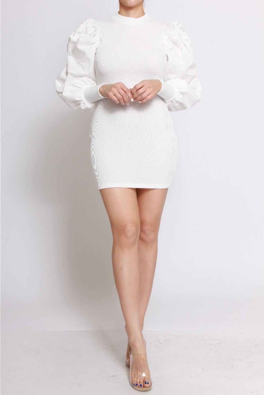 Image of Puff Sleeve Dress (White)
