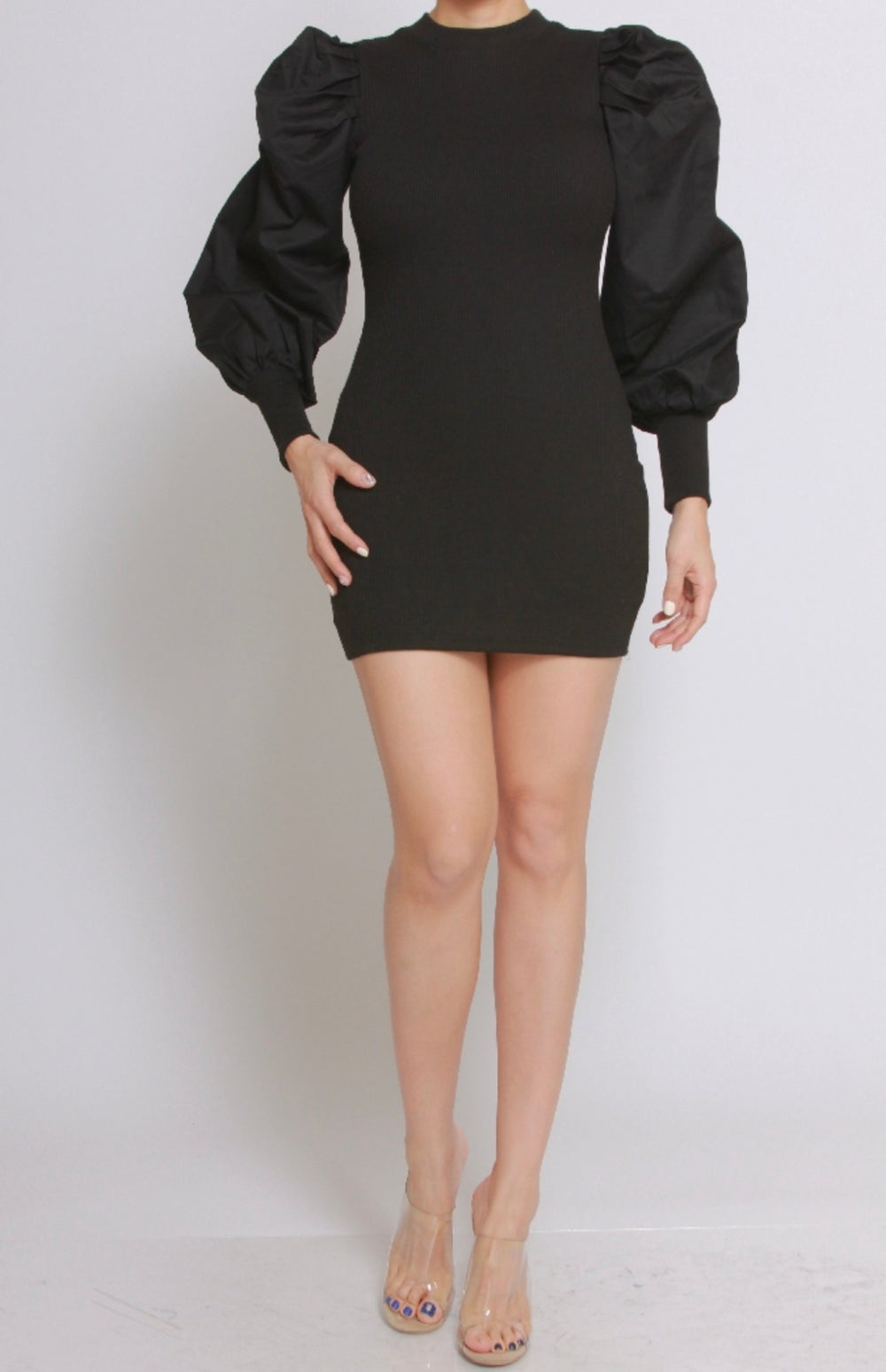 Image of Puff Sleeve Dress (Black)
