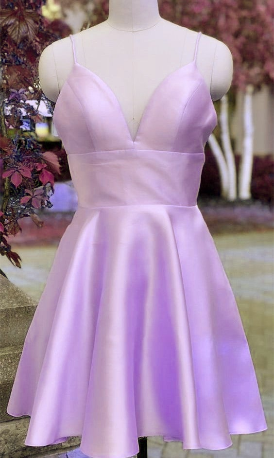 Fashionable Satin Short Party Dress, Lavender Homecoing Dress 2020