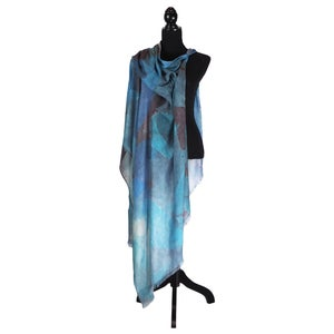 Image of Cashmere-Silk Blue Autumn Leaves Button Shawl