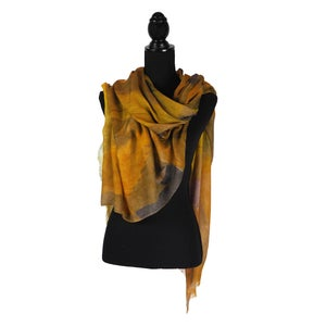 Image of Cashmere-Silk Camel Autumn Leaves Button Shawl