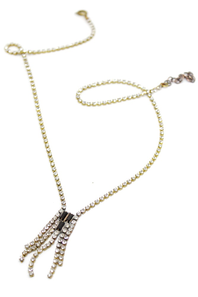 Image of VINTAGE RHINESTONE & EBONY NECKLACE 2