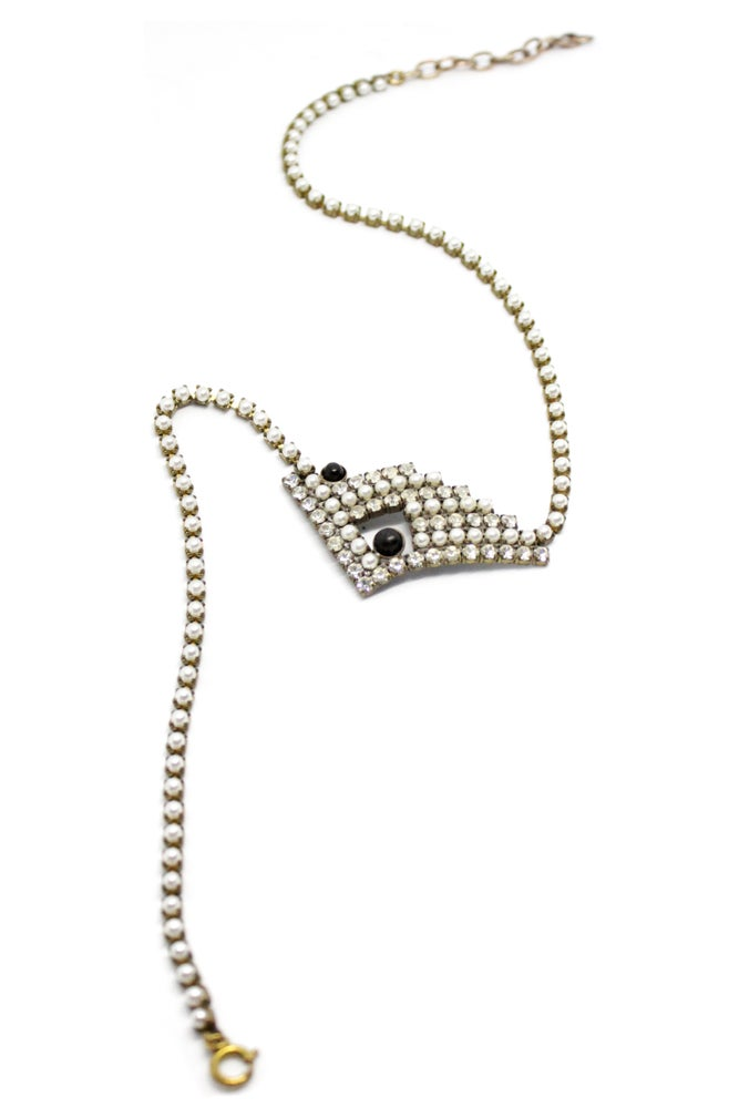 Image of VINTAGE RHINESTONE, FAKE PEARL & EBONY NECKLACE 1