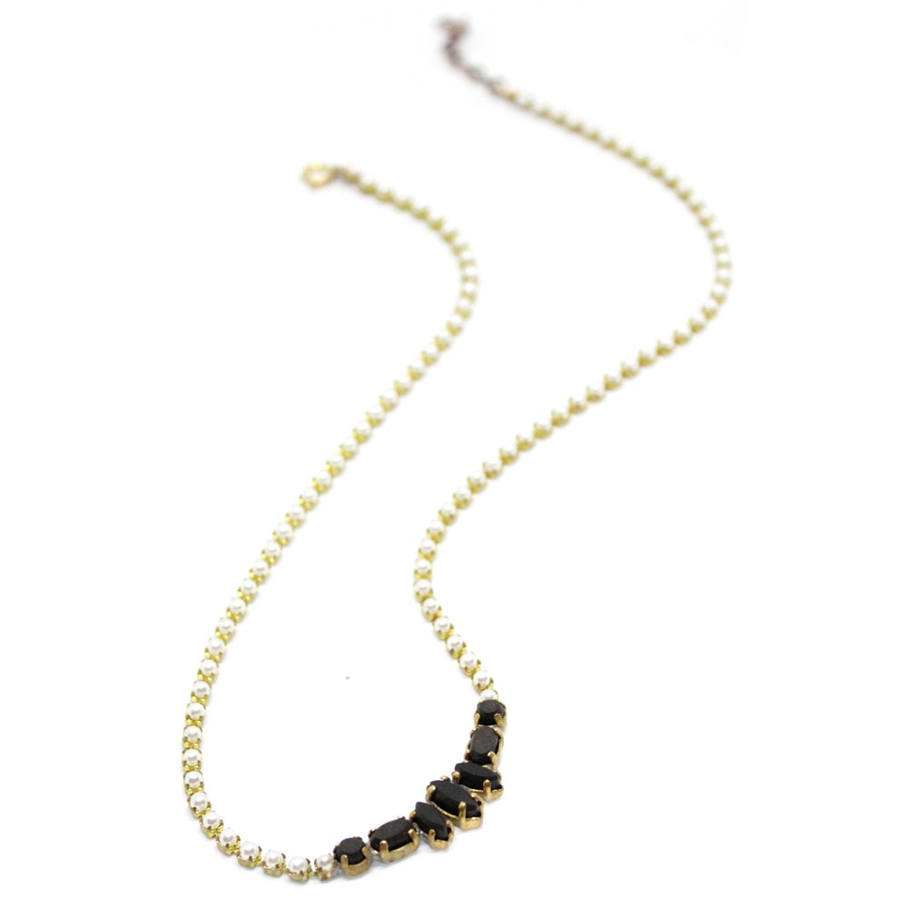 Image of VINTAGE FAKE PEARL & EBONY NECKLACES