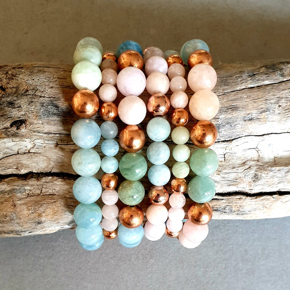 Image of BALANCE BRACELET - Morganite - Aquamarine - Heliodor - Copper