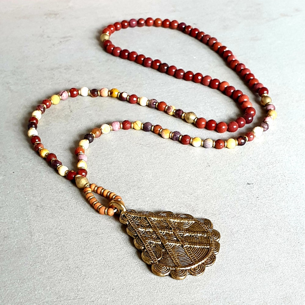Image of 'VITALITY' MALA NECKLACE - Mookaite - Red Jasper - Brass - Sandalwood