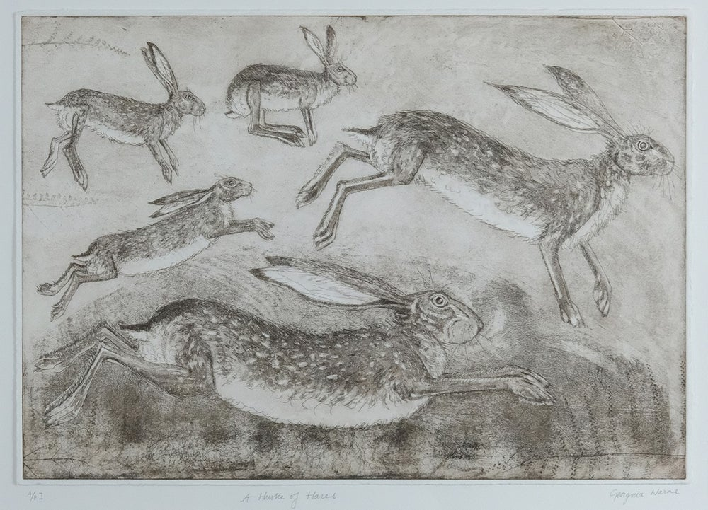 Image of GEORGINA WARNE - 'HUSKE OF HARES' - ARTIST PROOF ETCHING
