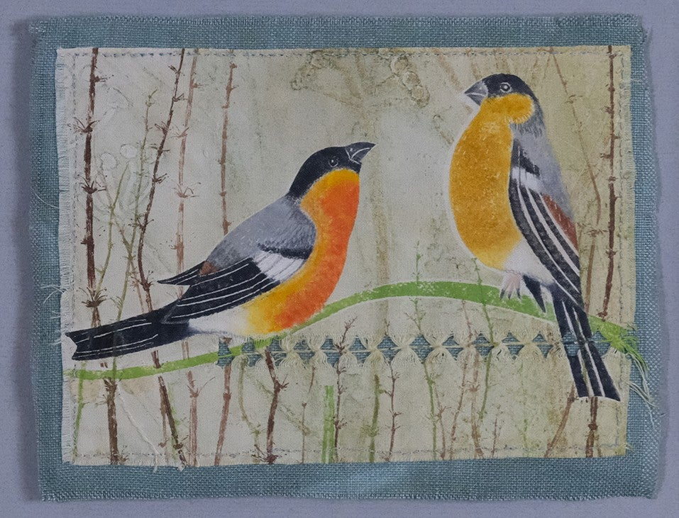 Image of GEORGINA WARNE - BULLFINCHES - COLLAGRAPH & MONOPRINT ON LINEN - ONLY ONE PRODUCED