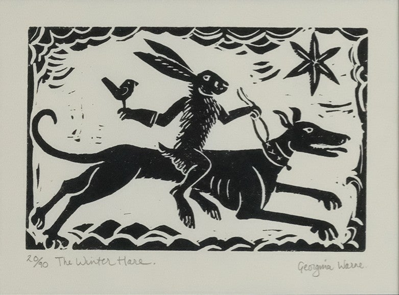 Image of GEORGINA WARNE - 'THE WINTER HARE' - LIMITED EDITION LINOCUT