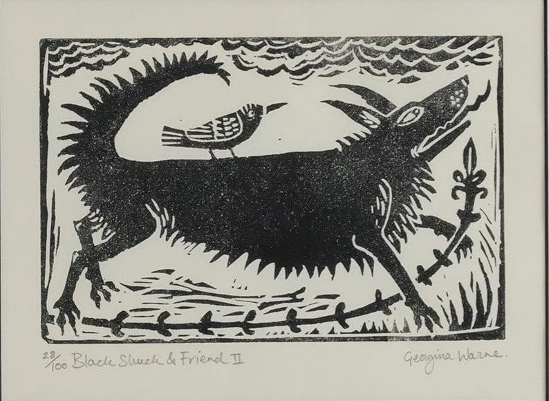 Image of GEORGINA WARNE - 'BLACK SHUCK & FRIEND II' - LIMITED EDITION LINOCUT