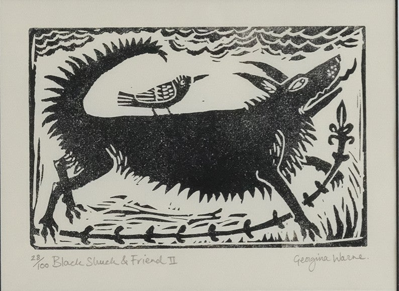 Image of GEORGINA WARNE - 'BLACK SHUCK & FRIEND II' - LIMITED EDITION LINOCUT