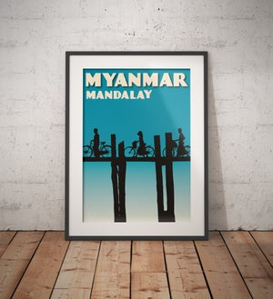 Image of Vintage poster Myanmar - Mandalay - Fine Art Print