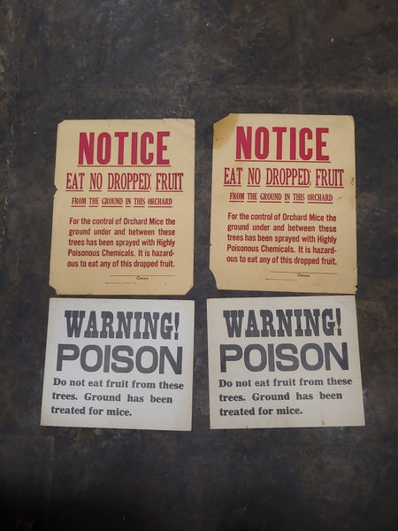 Image of Poison warning orchard signs lot of 4