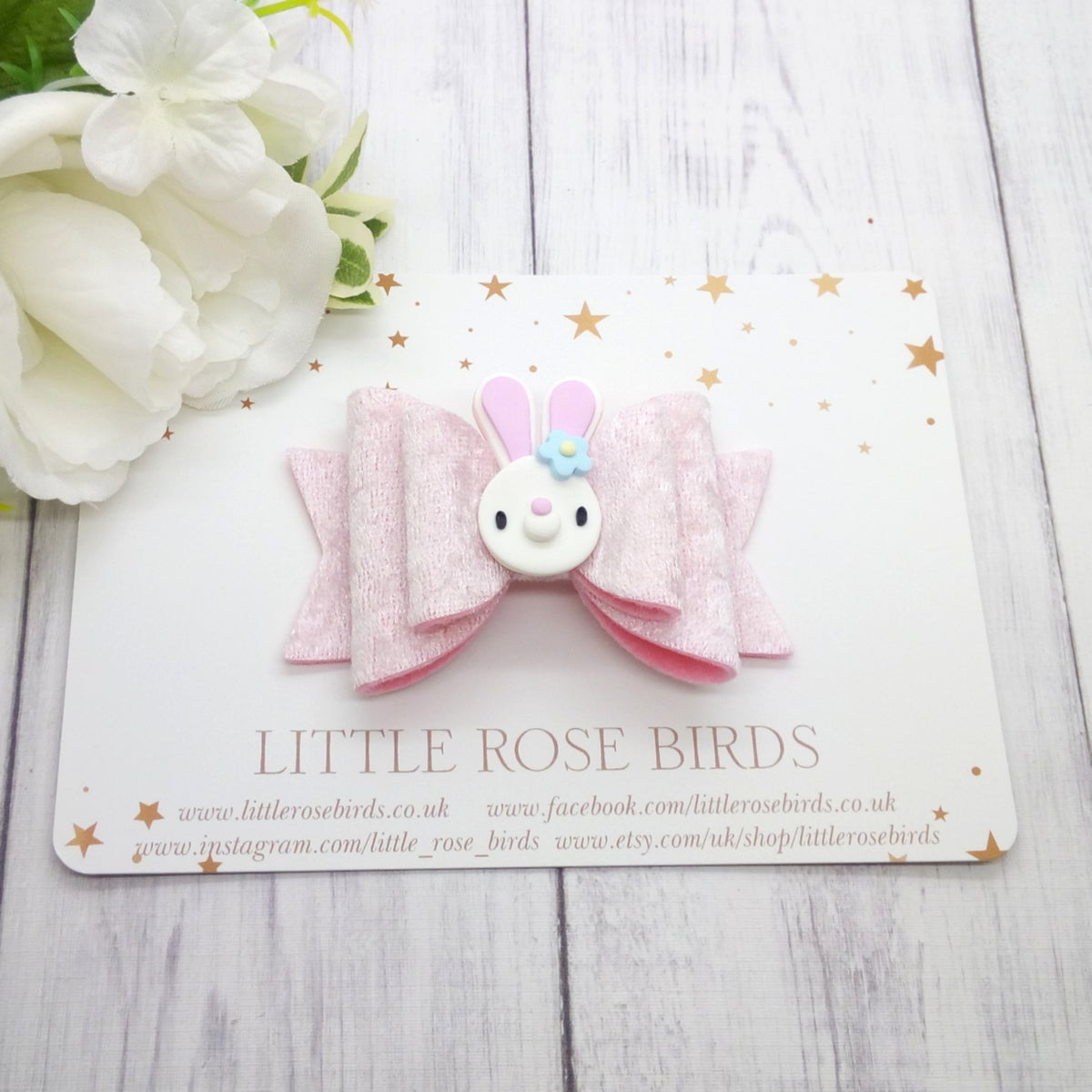 Image of Pink Velvet Bunny Bow