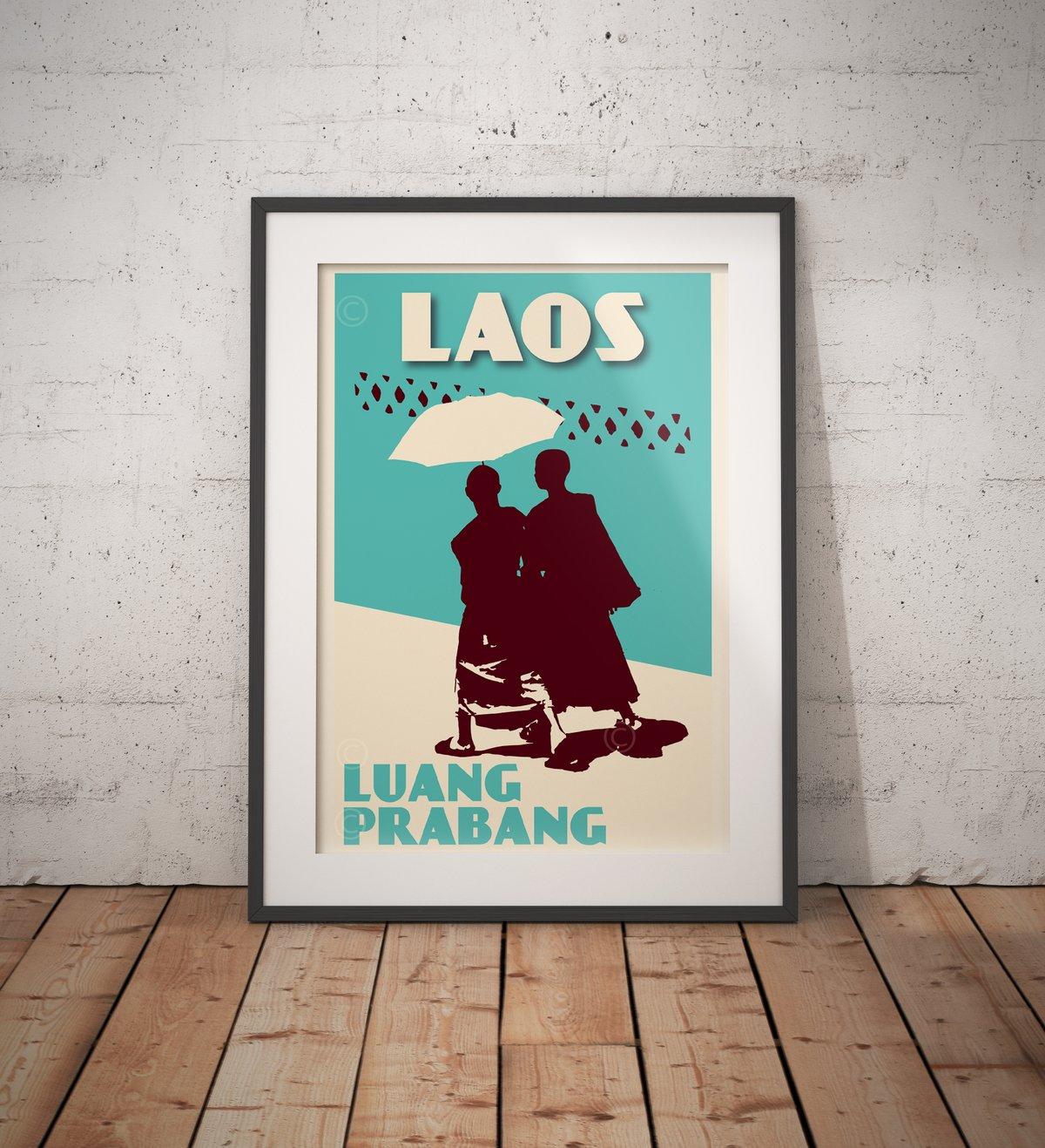 Image of Vintage poster Laos - Luang Prabang - Monks Turquoise - Fine Art Print