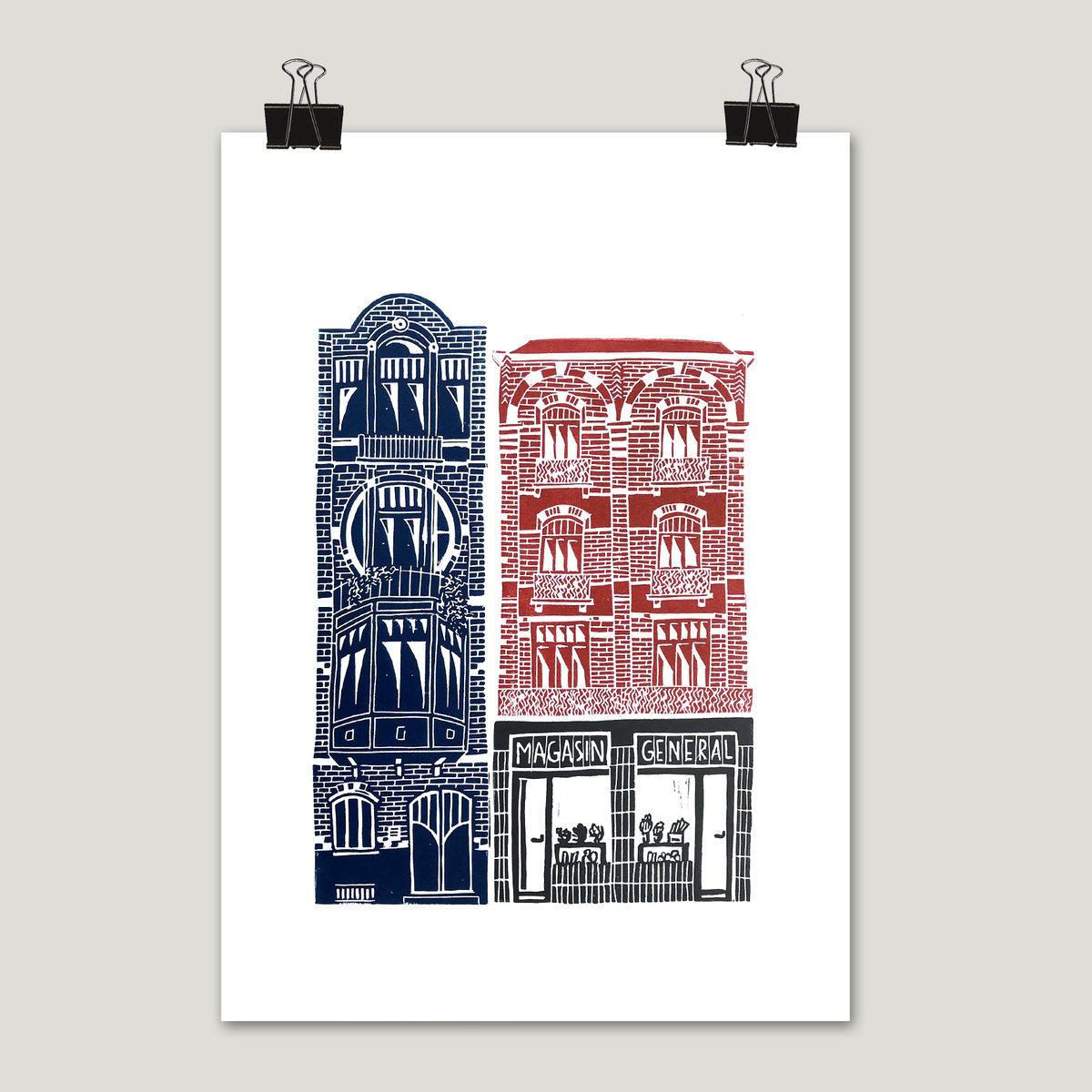 """Linogravures """"Maisons bruxelloises"""" (3 visuels différents)"""