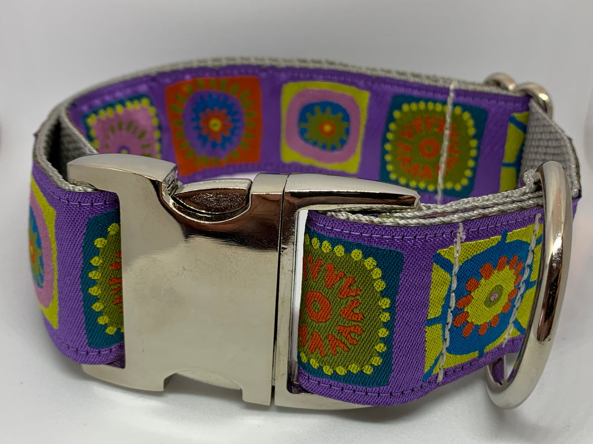 Fun Squares Purple - Dog Collar